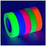 Neon Tape - Blacklight Reactive Glow Tape - UV Fluorescent Black Light Room Decor - Decorations for...