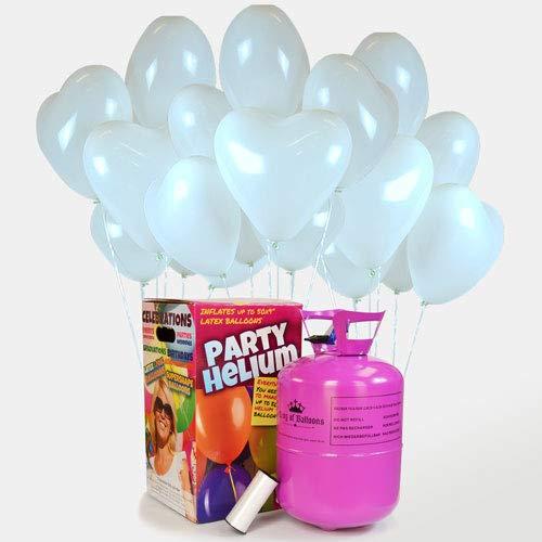 We Are Party Pack Romántico: bombona de Helio Maxi + 50 Globos de látex de Corazón Blancos 28cm Made in Spain