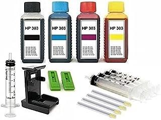 Inktpatronen navulset, navulkit, 4 x 100 ml navulinkt zwart cyaan magenta geel compatibel met HP 303 (XL) zwart en kleur, ...