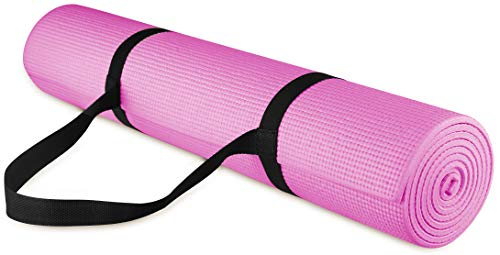 This black and pink yoga mat is a popular gift for moms.