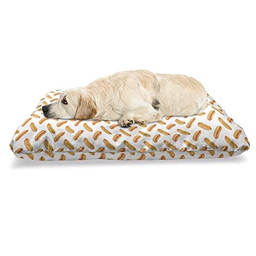 ABAKUHAUS Hotdog Haustierbett, Essen Einfache Doodle, beissfestes Kissen für Hunde und Katzen mit abnehmbaren Bezug, 60 cm x 100 cm, Orange Dunkel Peach