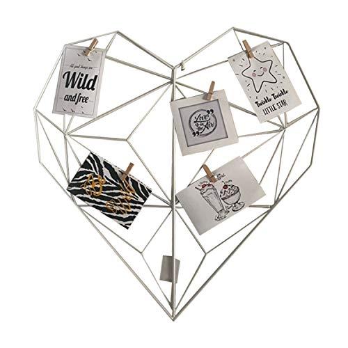 Rejilla o marco de foto de Pared, panel de metal como accesorio decorativo, negro y blanco, en forma de corazón o redondo...