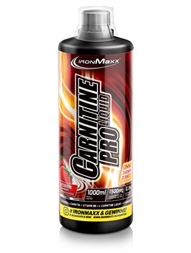 IronMaxx Carnitin Pro Liquid - 1000ml - 40 Portionen - Erdbeere - Erfrischendes Sportgetränk mit Carnitin & Vitamin B6 - für Sportler und Figurbewusste - Designed in Germany