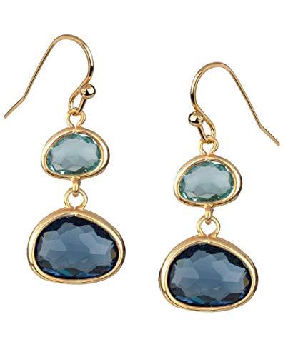 VIDAL & VIDAL Pendientes dorados con Piedras color azul