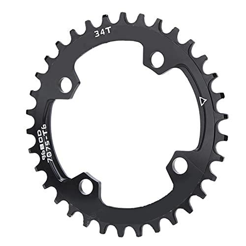 Mano de obra exquisita Anillo de cadena de bicicleta de montaña duradero 96BCD Bicicleta Anillo de cadena de reparación de plato redondo ancho y estrecho para montar en senderos para(34T, 12)