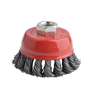 Gunpla 3 Inch Knotted Wire Cup Brush with 5/8 Inch-11 Threaded Arbor Heavy Duty Wires Brushes for Metal, Rust Corrosion Paint Removal
