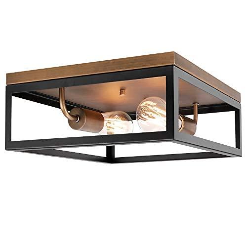 Lámpara de techo industrial de 2 luces empotradas de montaje empotrado, de metal negro, lámpara de techo, vintage cerca de la luz de techo, granja