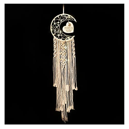 WIFTREY Moon Dream Catcher Gifts for Mom, Beige Macrame Wall Hanging Decoration with Night Light, Present from Daughter Son Best Mom Ever Gift for Mother s Day Birthday