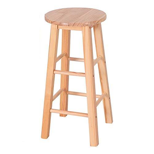 DS Chaise de bar Tabouret de Bar Rond en pin avec Finition Naturelle, Couleur Bois, Hauteur 24 '' #