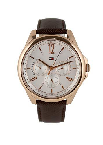Tommy Hilfiger Reloj de pulsera para mujer de acero inoxidable, oro rosado y cuero marrón, 1781823