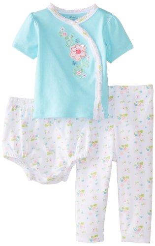 Gerber Baby-Girls Newborn Side-Snap Shirt, Pant, Diaper Cover-Flower