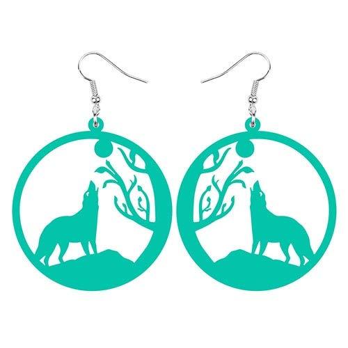 ESIVEL Acrílico Big Roung Circle Hollow Wolf Moon Tree Branch Pendientes Drop Dangle Jewelry Para Mujeres Teen Girl Kid Decoraciones Regalo Azul claro