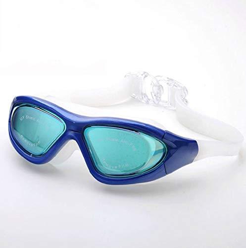 MHP Zwembril, grote framebekleding, voor mannen en vrouwen, vlakke zwembril, waterdicht, anti-condens, UV-duikbril, blauw