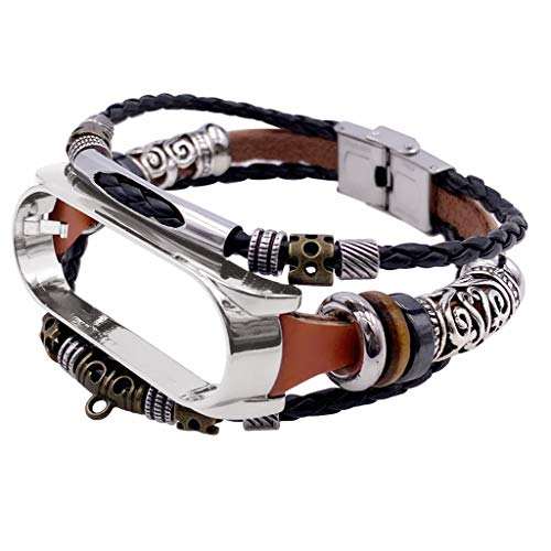 NA. Modisches Retro-Armband für Xiao-mi Band 5 Lederarmband
