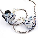 KZ ZS10 Pro - Auriculares de metal 4BA+1DD híbridos 10 unidades HIFI Bass Audífonos de monitor de oído deportivos con cancelación de ruido (sin micrófono, azul brillante)
