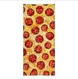 chinawh Drôle Pepperoni Pizza Allover Cuisine Serviette De Plage Blague Léger Sport Serviettes De Piscine pour Salle De Bains Malbouffe Cadeau Humour 70x140 cm
