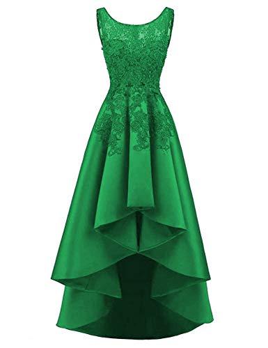 HUINI Elegant Abendkleider Ärmellos Spitzenkleider Vintage Cocktail Partykleider Wadenlang Satin Brautkleider Hochzeitskleider Dunkel Grün 36