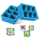 iNeibo Set de 2 Bac a Glacons Cube Moulle Glacon Silicone 100% Alimentaire sans BPA - Bac Glacon Carré Idéal pour Conserver Purée de Bébé Cocktails Boissons Glaçons aux Fruits Bleu
