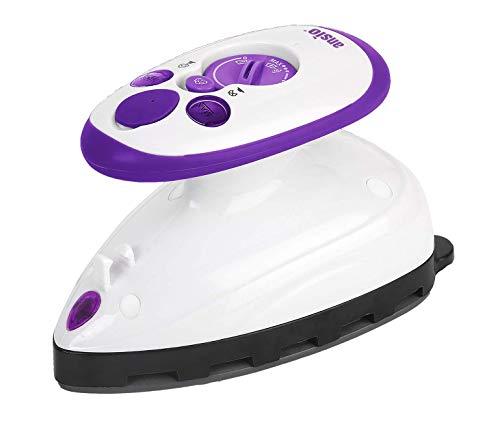 Mini plancha de vapor con suela de cerámica perfecta para viajar y acolchar - 2 años de garantía - Púrpura / blanco