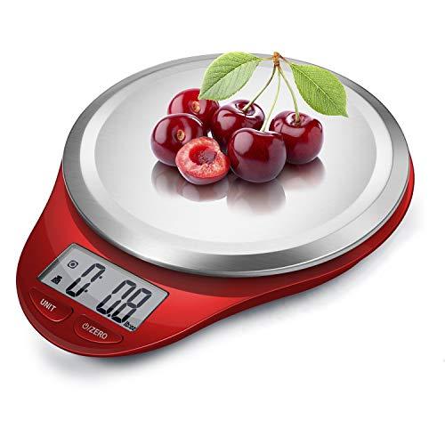 CAMRY Balance de Cuisine Balance numérique Balance électronique Professionnelle avec précision jusqu'à 1g Poids Maximum 5kg Affichage LCD Tare Auto Off Acier Inoxydable (Rouge)