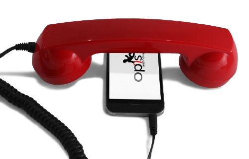 Opis 60s Micro - Retro Handyhörer für Smartphones und Handys in der Form eines klassischen Telefonhörers (rot)