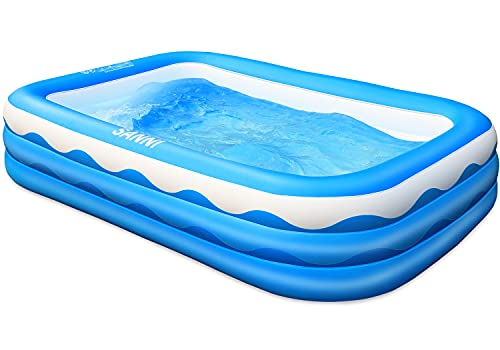 Sanni Inflatable Swimming Pool, 118' X 72' X 22' Family Full-Size Kiddie Pools, Inflatable Lounge Pool for Kiddie, Kids, Adult, Infant, Toddlers for Ages 3+,Outdoor, Garden, Backyard