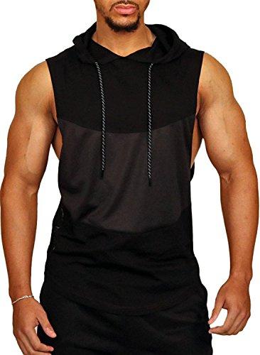 PAIZH Men's Workout Hooded Tank Tops Bodybuilding Muscle T Shirt Sleeveless Gym Hoodies (S,Black)