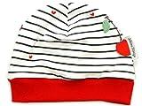 Kleine Könige Mütze Baby Mädchen Beanie · Modell Kirschen Cherry gestreift, rot · Ökotex 100 Zertifiziert · Größe 62/68