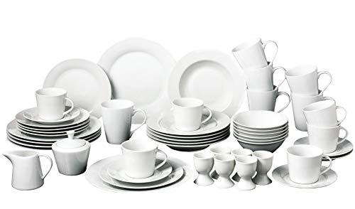 Retsch Arzberg / Geschirr Set Kombiservice 50-teilig EMILY für 6 Personen / weiß / Mit einem Klick sind Sie Ihre Geschirrsorgen los