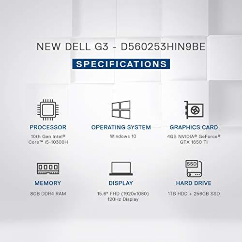 Dell G3 3500 Gaming Laptop 15.6-inch FHD 120 Hz Display (10th Gen Core i5-10300H/8GB/1TB + 256GB SSD/Win 10/4GB NVIDIA1650 Ti Graphics/Eclipse Black) D560253HIN9BE