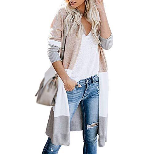 Vertvie Damen Mantel Langarm Open Front Cardigan Strickjacke Asymmetrisch Schnitt Strickmantel Langshirt mit Taschen (EU M/Etikettengröße L, W-Khaki)