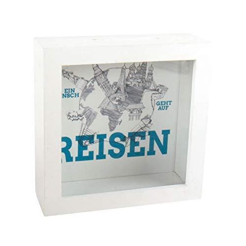Roomando - Hucha con marco de fotos de madera y diferentes diseños, Räder Design Viaje - Hucha para colgar, color blanco