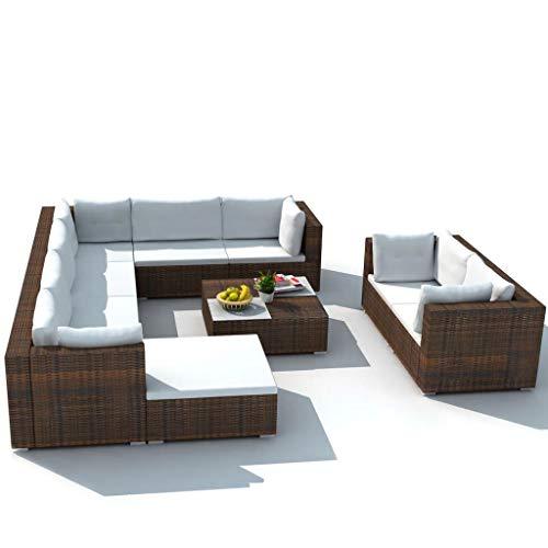 Ksodgun Set Muebles de jardín 10 Piezas y Cojines Juego de Muebles de jardín para Patio Mesa de Centro ratán sintético marrón
