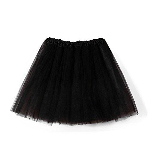 SHOBDW Mujeres Plisadas Falda de Gasa de Adultos Falda de Baile tut Retro Rockabilly Enaguas Miriaques Faldas (Negro b, One Size)