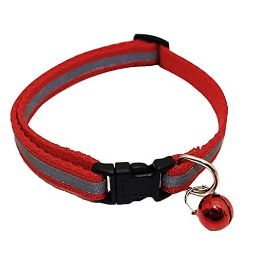 Collar del Gato reflexivo con Bell Collar Ajustable Collar de Mascotas Gato Duradero admiten Cuello para Gatos Perros y Animales de pequeño tamaño Rojo