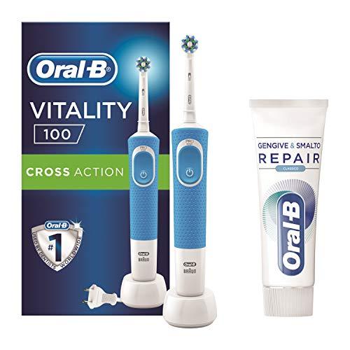 Oral-B Vitality 100 Spazzolino Elettrico Ricaricabile Braun, 1 Manico Blu, 1 Testina di Ricambio CrossAction + Dentifricio Oral-B Gengive & Smalto Repair Classico, 75 ml