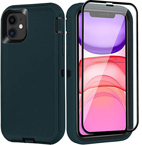 BMBZON iPhone 11 Case with Screen Protector Tempered Glass, Full Body Protection Cover Military Grade Heavy Duty Rugged Shockproof Drop-Proof Phone Case 6.1