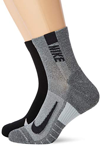 Nike Unisex Nike Multiplier Running Ankle Socks (2 Pair), Multi-Color, Medium