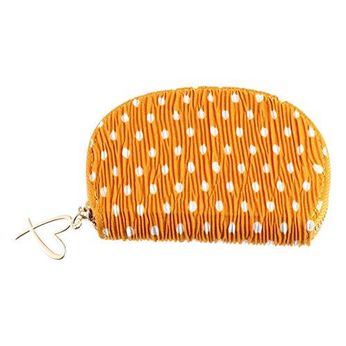 VALICLUD Coin Purse Change Wallet Pouch Card Holder Mini Purse Zip Id Case Wallet with Heart Zipper Llavero Anillo para Mujeres Niñas Regalo de Cumpleaños de Navidad (Amarillo)