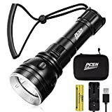 Scuba Diving Lights, PFSN DF- 3000 High Lumens Professional Underwater Flashlight 150m Waterproof Dive Torch with 4800mAh 21700 Rechargeable Battery, Super Bright Light Best for Caving Explore Fishing