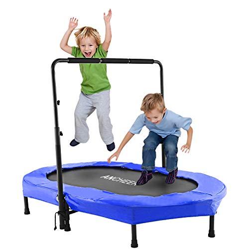ANCHEER Sports Trampoline pour Deux Enfant Intérieur/Extérieur Mini Trampoline Fitness Pliable avec Poignée Réglable Trampoline Parent-Enfant (Bleu)