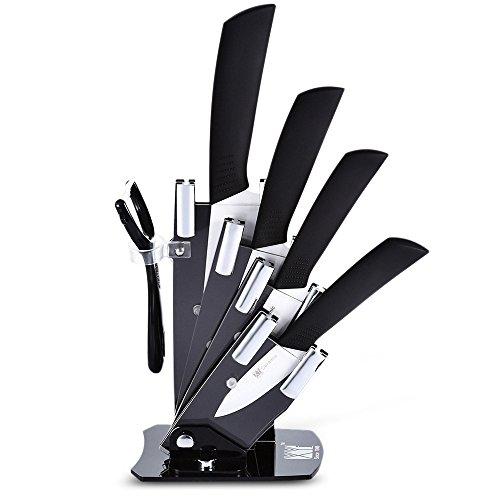 Keramik Messer Set, 6 Stück Küche Messer Set Mit Hülle Cover, Messerblock Und Schäler Set