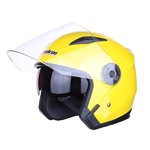 TKer Casco Jet, Amarillo Casco Moto Scooter con Doble Visera para Mujer Hombre Adultos ECE Homologado,XL