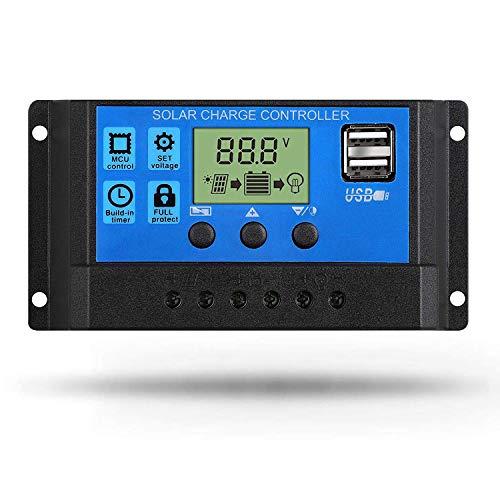 Linkhood Solar Charge Controller, Dual USB Port Solar Panel Battery Intelligent Regulator, Multi-Function Adjustable LCD Display Street Light Controller (20A)