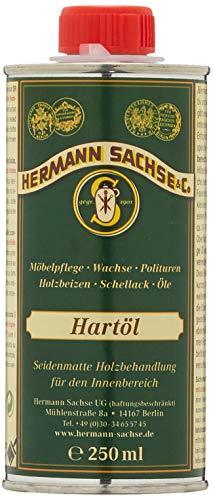 Hermann Sachse Hartöl - Farblos - 250ml - Holzöl - Möbelöl - Effektiver Holzschutz im Innenbereich - Natürliches Leinöl - Arbeitsplattenöl - Öl für Tische - Made in Germany