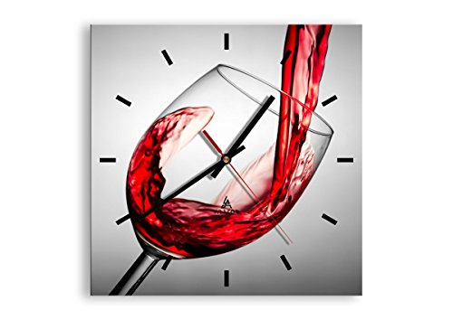 orologio da parete quadrato Orologio da parete - Quadrato - Bere bicchiere vino - 30x30cm - Orologio da parete - Orologio in Vetro - Orologio Da Muro - Moderno - Decorazione Parete - Home Decor - C3AC30x30-2258