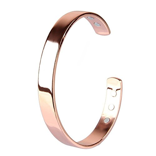 Copper Magnetic Therapy Bangel Rose Gold Bracelet for Men Women Arthritis Healing Joint Pain Relief Aid with 6 Powerful Magnets