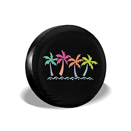 MSGUIDE Spare Tire Cover Tropical Palm Trees in Simple Beach Vacation Wheel Tire Protectors for Jeep, Camper Travel Trailer, RV, SUV, Truck and Many Vehicle - Universal Fits Tire (14' 15' 16' 17')