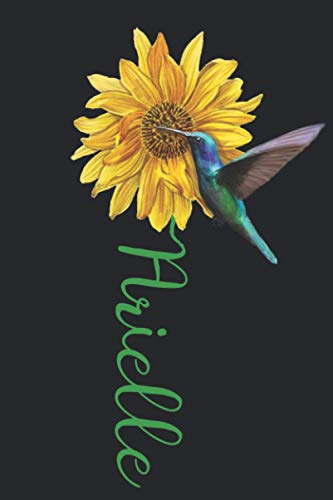 Arielle: A pretty and cute personalized floral sunflower and hummingbird notebook gift idea for women and girls named Arielle with the name on the cover.