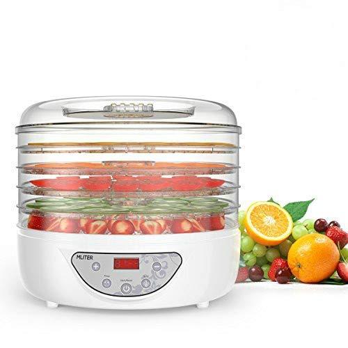 Dörrautomat BPA frei, MLITER Dörrgerät für Obst, Gemüse und Fleisch, Selbstabschaltung, Dörrgerät Obsttrockner mit 36 Stunden-Timer und Thermostat Einstellbar 35 ° C-70 ° C, 240W, 5 Etagen
